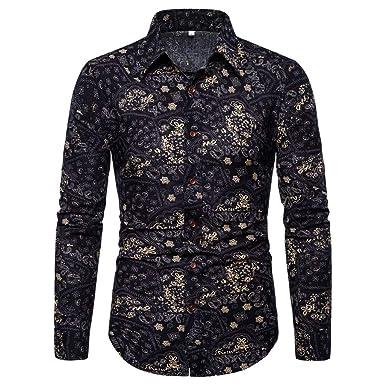 waotier Camisa de Hombre Verano Moda Negocio Casual Slim fit Ocio ...