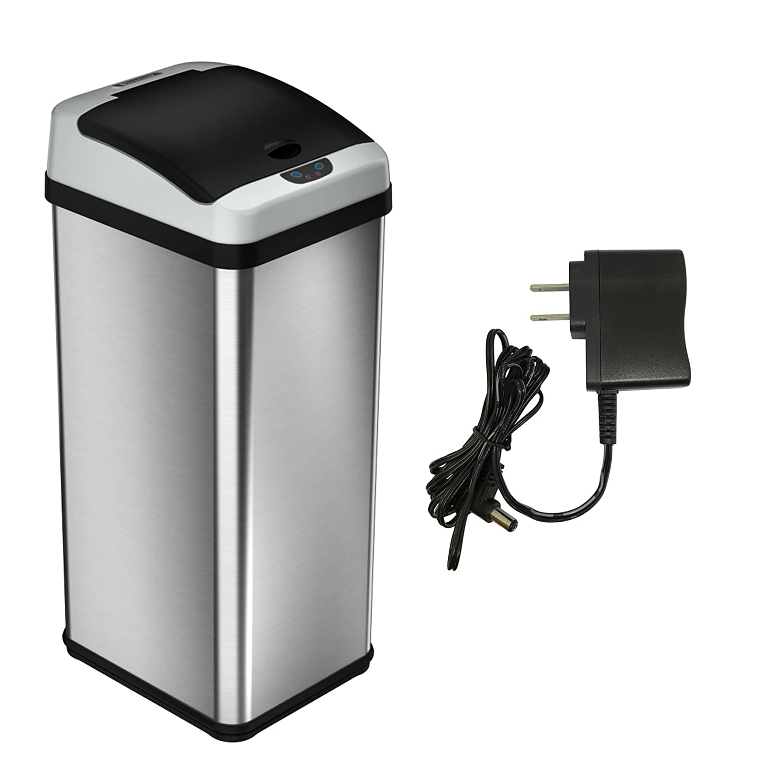 iTouchless 13 Gallon Stainless Steel Automatic Trash Can with Odor Control System, Big Lid Opening Sensor Touchless Kitchen Trash Bin (Base Version - No AC Adapter) DZT13/IT13CB