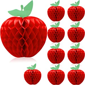 10 Pieces Decorative Paper Honeycomb Balls Paper Flower Ball Honeycomb Tissue Paper Apple Hanging Paper Apple Fruit Decoration for Party Wedding Birthday Nursery Home Decor, Red (7 Inch)
