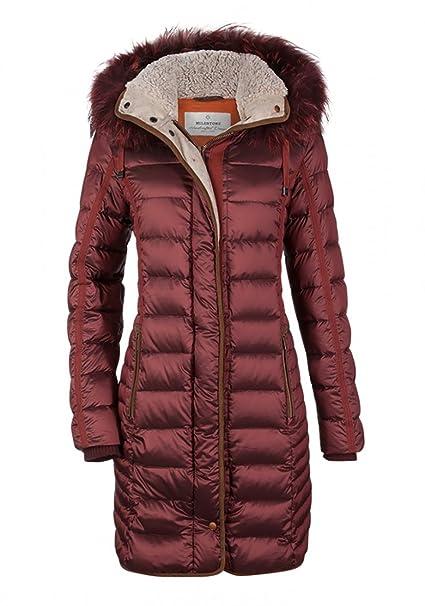 MILESTONE Damen Daunenmantel Winter Mantel Gesteppt Bordeaux Rot Kapuze mit Echtfellbesatz Tailliert Gr. 36 44
