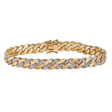 c6938dc3e08a0 Amazon.com: Lux Men's White Diamond Accent 18k Yellow Gold-Plated Curb-Link  Bracelet 8.5