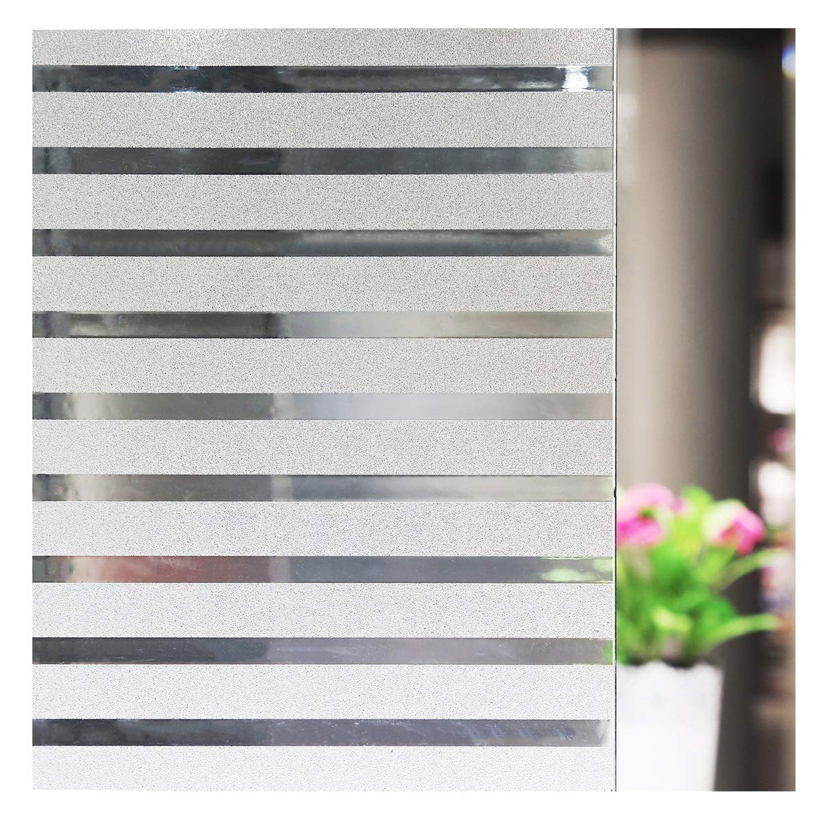 ConCus-T Static Cling Vinyl Premium Frosted Wide Stripes Decorative Privacy Window Film for Home Office Privacy and Decoration 23.62x118.11 60cm x 300cm