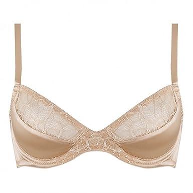 7ee84c012992 Emma Harris Lingerie Tiffany Champagne Silk Plunge Bra  Amazon.co.uk   Clothing