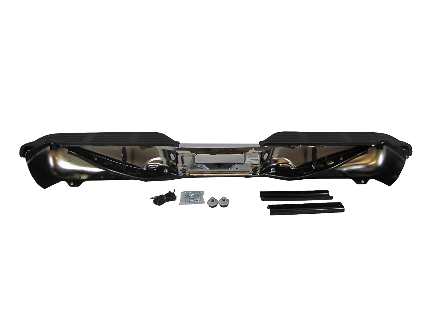 WITHOUT SENSOR HOLE 99-07 FORD SUPER DUTY F250 F350 450 550 REAR STEP BUMPER CHROME FULL ASSY WITH BRACKETS WITH HITCH WITH LICENSE LAMP /& CABLE OEM TYPE FO1101141 WITH PADS