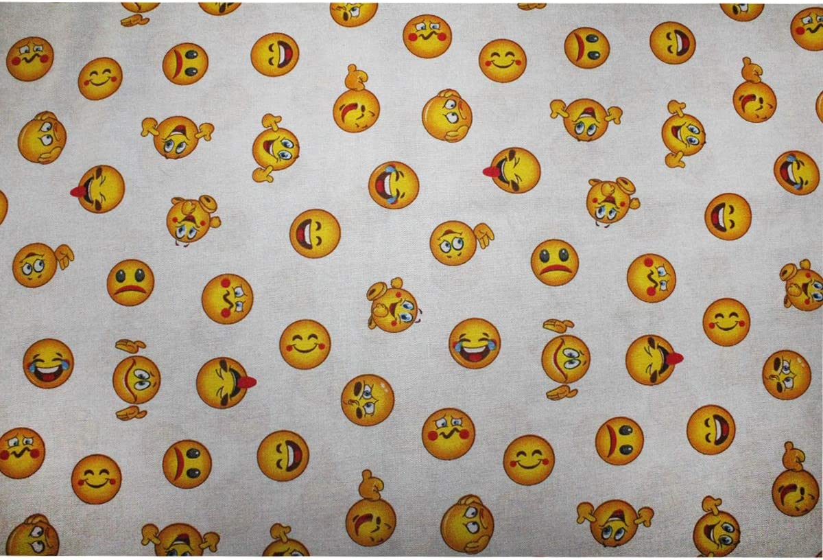 Russo Tessuti Tessuto Cotone Doppio Fantasia Emoticon Emoji Varie Misure Scampoli-135x140 cm