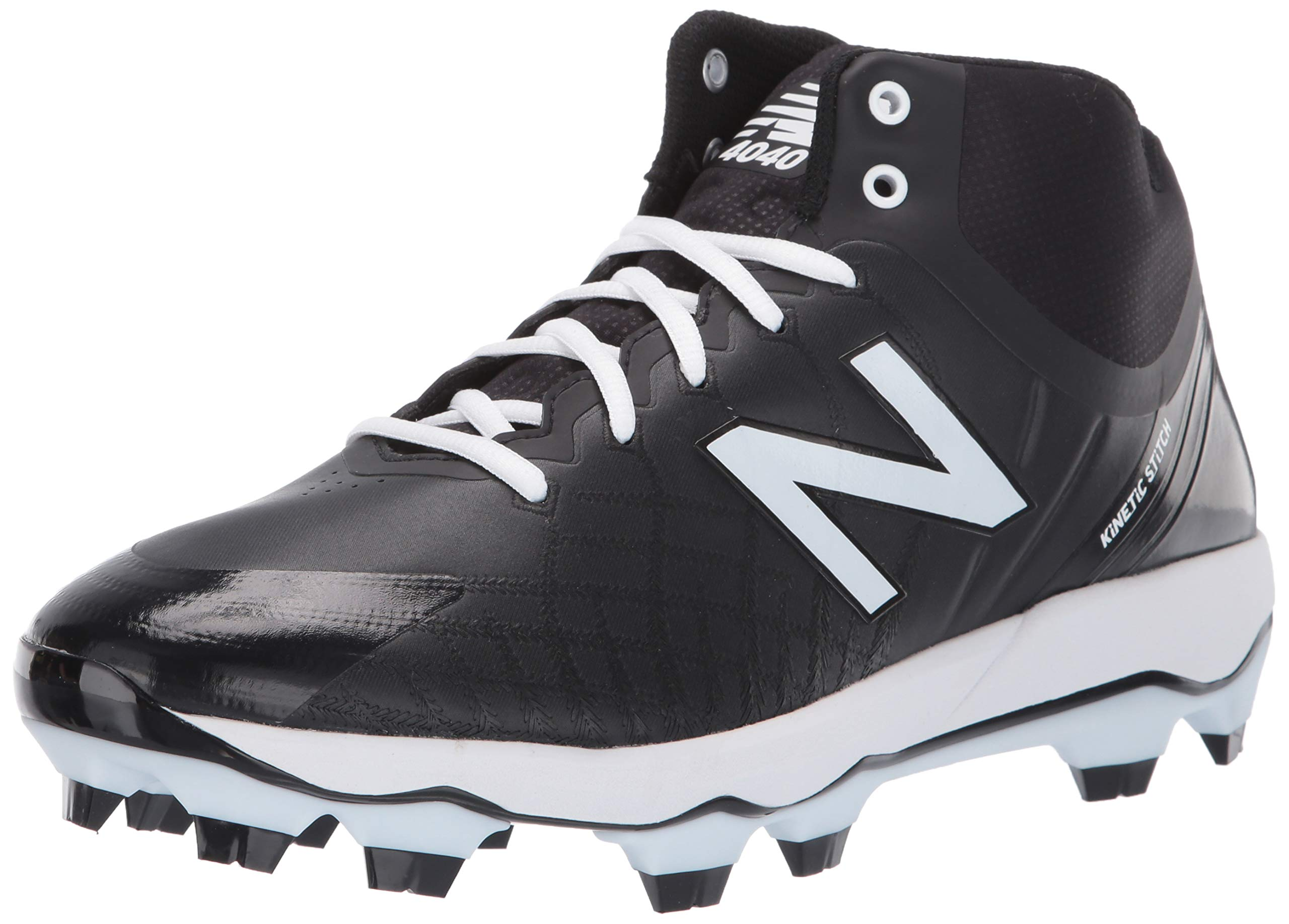 New Balance Men's 4040v5 Molded Baseball Shoe, Black/White, 8 XW US by New Balance