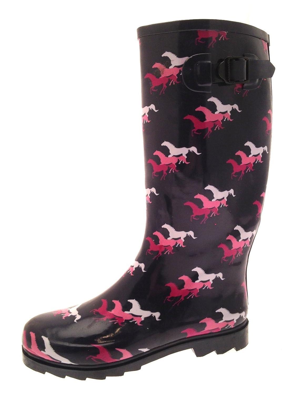 Bottes en neige caoutchouc Wellies pour femme Longueur au Blue/Pink genou Bottes de pluie, de neige Blue/Pink Horses Wellies 8ca071a - boatplans.space