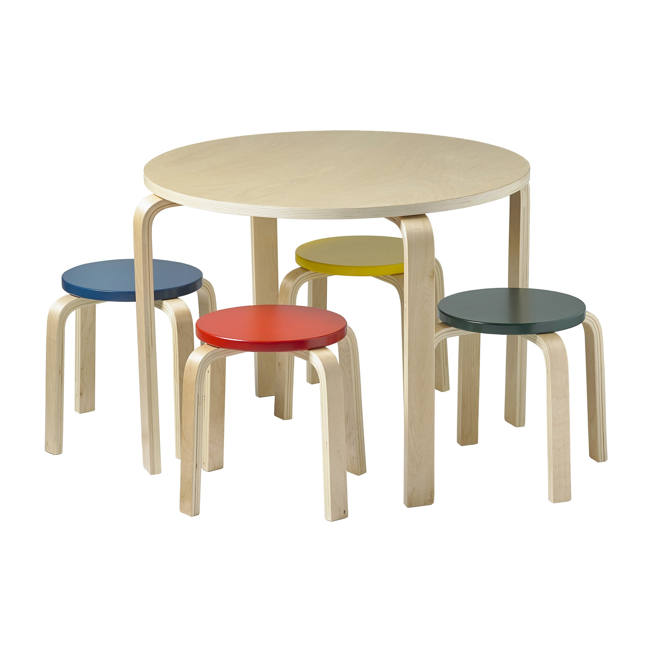 ECR4Kids Bentwood Table and Stool Set for Kids, Assorted (5-Piece Set)