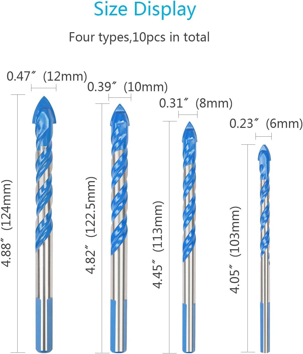6mm// 8mm// 10mm// 12mm Forets Pour Carrelage Verre ZoomSky 10 Pcs Foret Multi-mat/ériaux Triangle Porcelaine Forage M/étalliques Pour Carrelage Verre Marbre Miroir Bois
