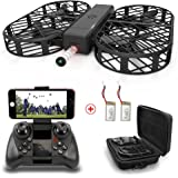 WIFI FPV Drone with 720P HD Camera DWI Dowellin Foldable Drone with Altitude Hold and One Key Take Off Landing RC Quadcopter with 2 pcs 3.7V 380mAh Lipo Batteries D7 Black