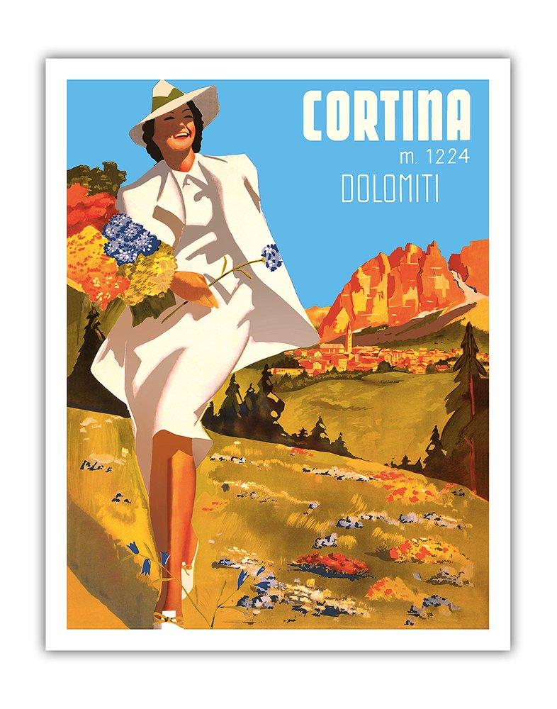 8in x 12in Vintage Tin Sign - Cortina, Italy - Cortina d'Ampezzo - Elevation 1224 Meters - Dolomiti (Dolomite Mountains) by Michele Ortino Pacifica Island Art Inc.