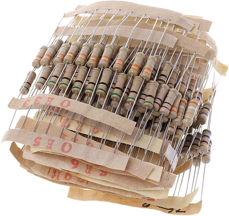 zhiounny 300Pcs Resistor Kits 1W 5/% 0.1-750 Ohm Carbon Resistor 30 Values Resistance Set