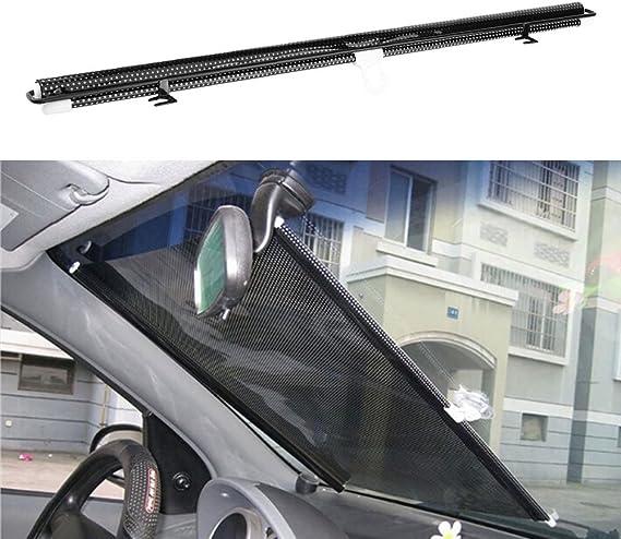 Qiilu Parabrisas de ventana del coche Retr/áctil Sombrilla Auto sombreado de cortina Cubierta Negro 125x58cm