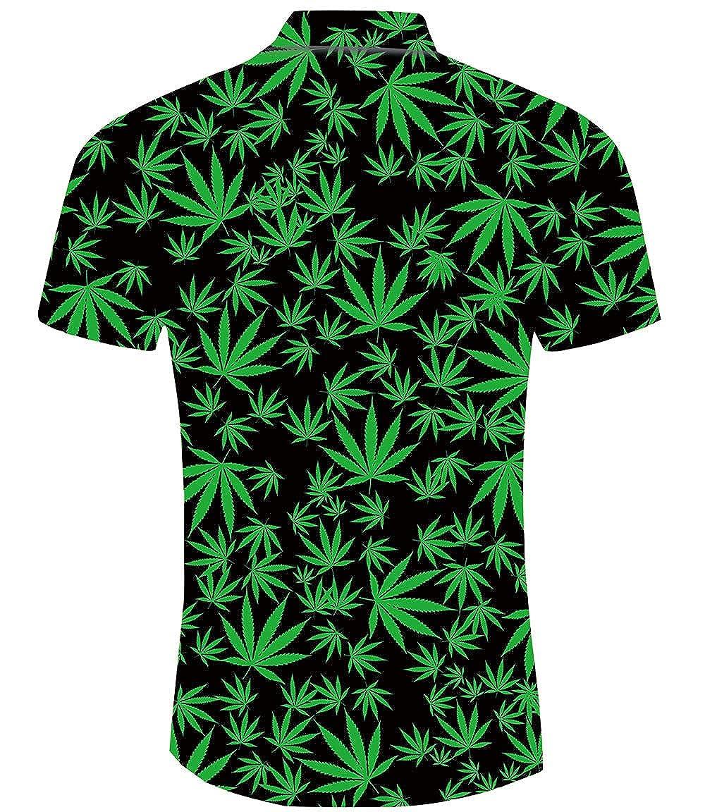 XXL TUONROAD Camicia Hawaiana Uomo Funky Ananas Leone Gatto 3D Stampa Camicia Slim Fit Manica Corta Camicia da Spiaggia Bottone Estivo Casual Shirt M