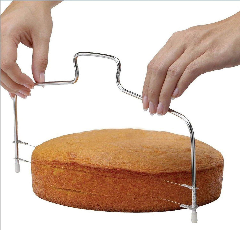 Cake Cutter Slicer Leveler, KOOTIPS Premium Food Grade Stainless Steel Double Wires Cake Cutter/Slicer/Leveler, Adjustable, 13.8 x 6.3 inches, Dishwasher Safe, Silver Kootips-1-470