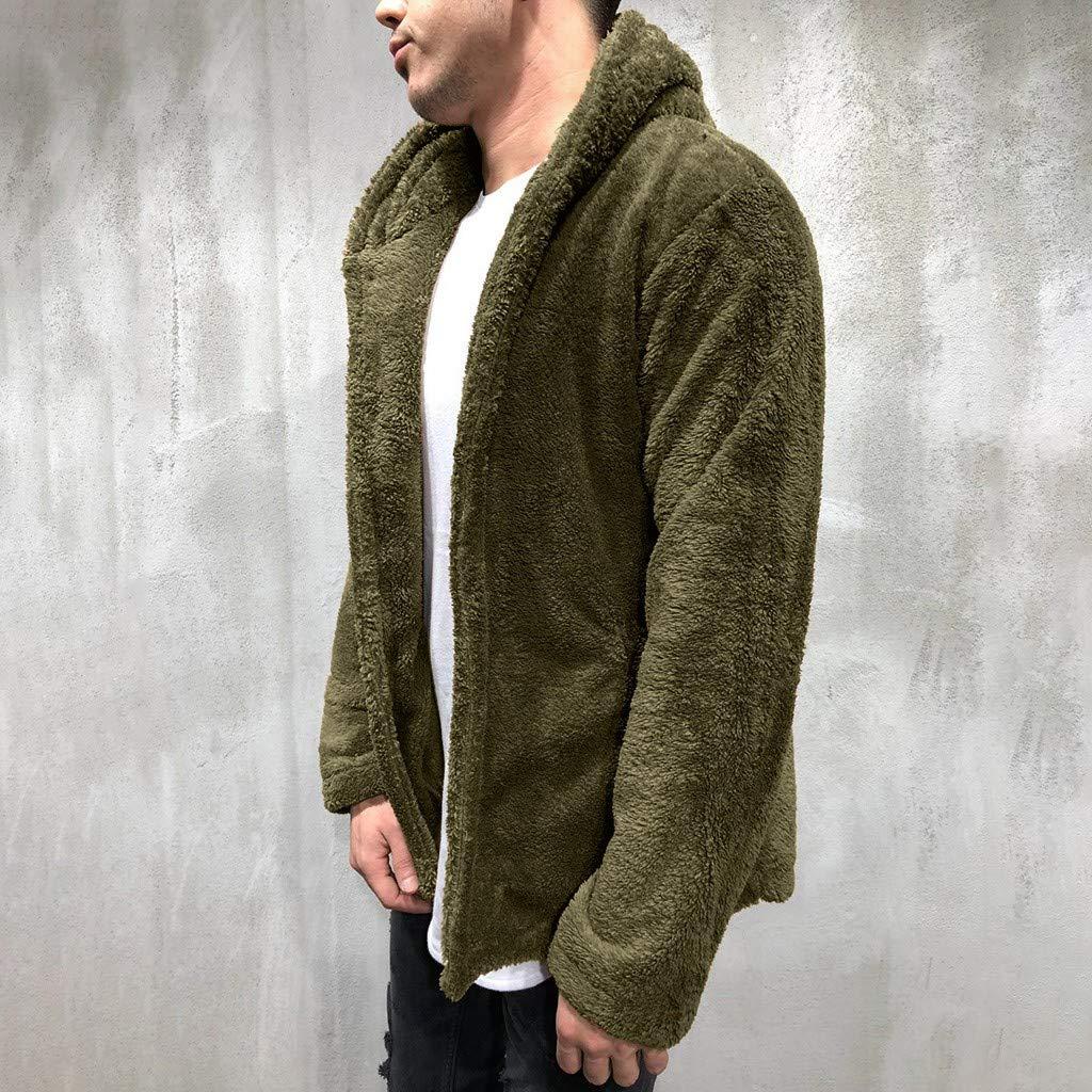 Mens Faux Fleece Cardigan Coat Sale Men Autumn Winter Warm Jacket Casual Button Hooded Outwear