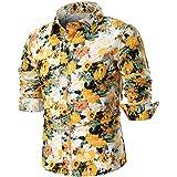 Camisas Hombre Manga Larga Camisa ZARLLE Camisa Casual para Hombre Slim Fit Camisas Modernos Flores Imprimir Top Casuales Suave Cómodo Tops