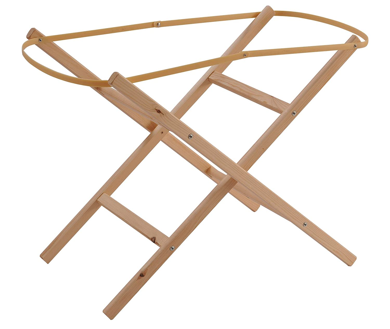 Clair de Lune Ready Assembled Wooden Folding Moses Basket Stand (Natural) CL1554