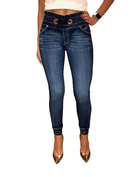 46b2724958 MAAKU Pantalon de Mezclilla para Mujer deslavado Resorte en Cintura (11)