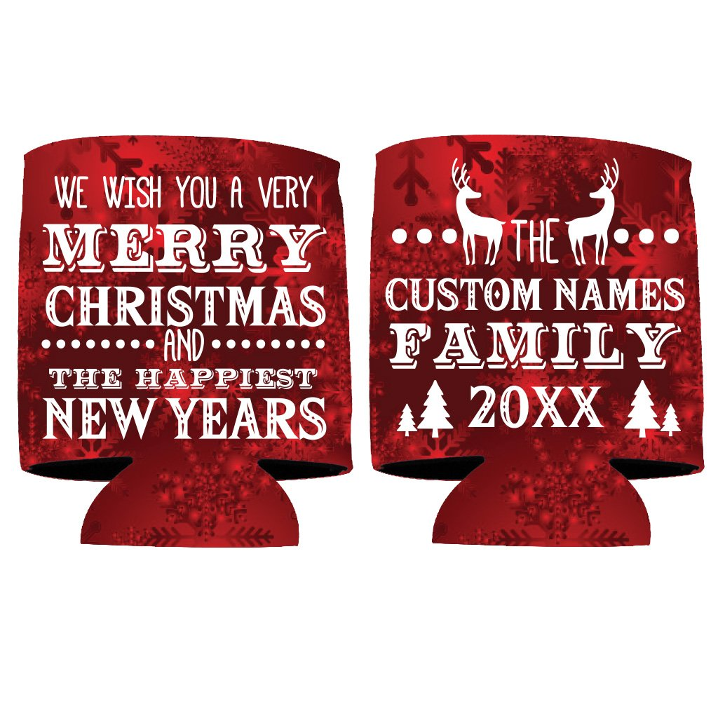 Custom Family Christmas Can Cooler - We Wish You A Merry Christmas And The Happiest New Years (100)