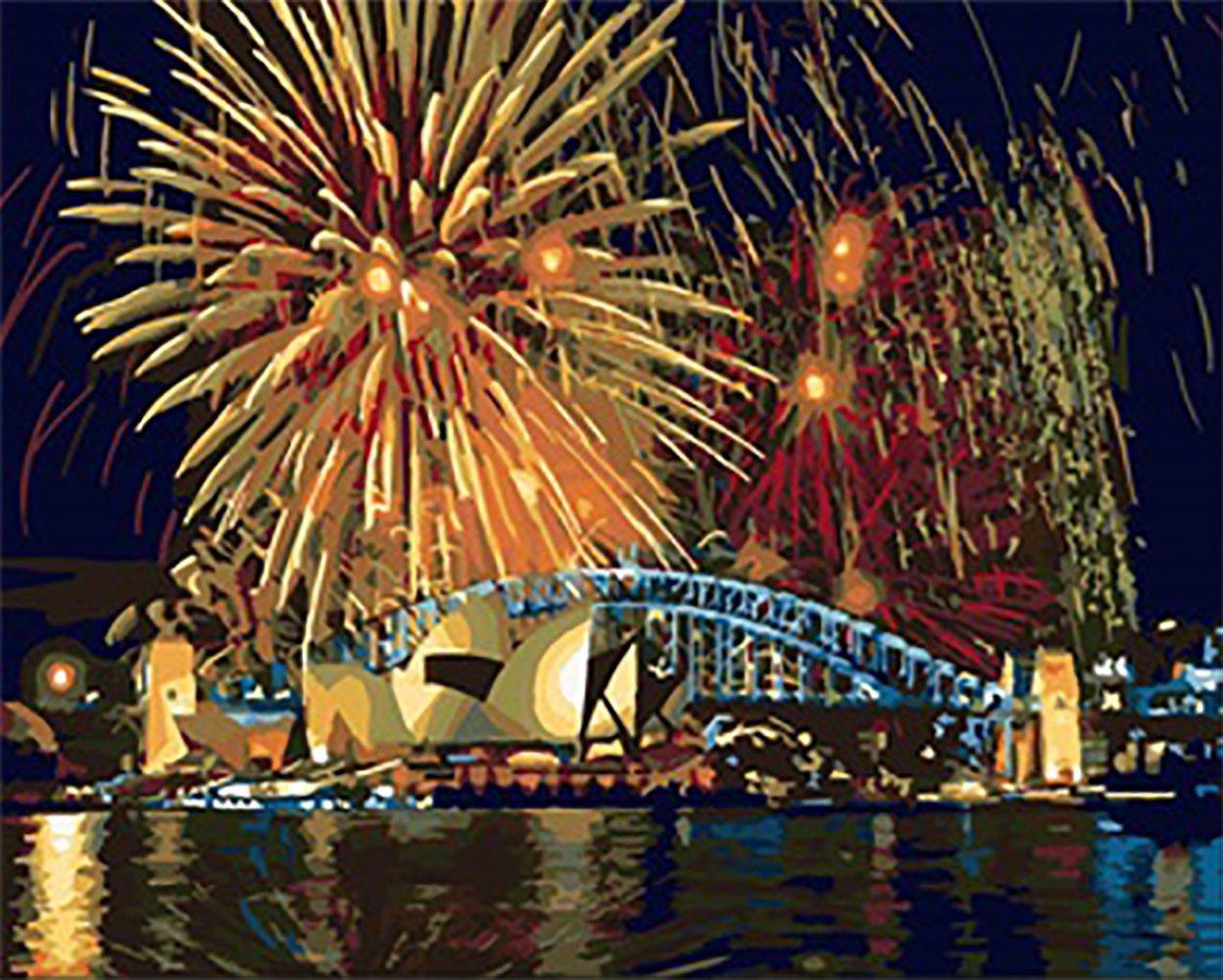 [木製フレーム] ALB 16インチ*20インチ、ナンバーで描くDIY絵画、有名絵画コレクション 3 ALB B01MZ4RFET Night view of Sydney Night view of Sydney