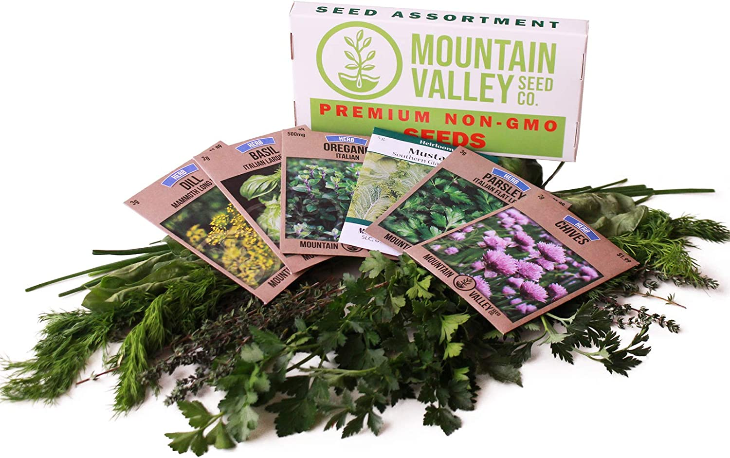 Culinary Herb Seeds Garden Collection   Basic Assortment   6 Non-GMO Seed Packets: Basil, Dill, Oregano, Parsley, Chives & Mustard   Grow Cooking Herbs & Spices