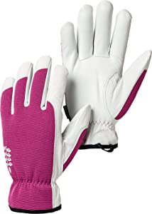Hestra Garden Kobolt Women's Garden Gloves for Potting, Planting and Everyday - Fuschia/White - 8
