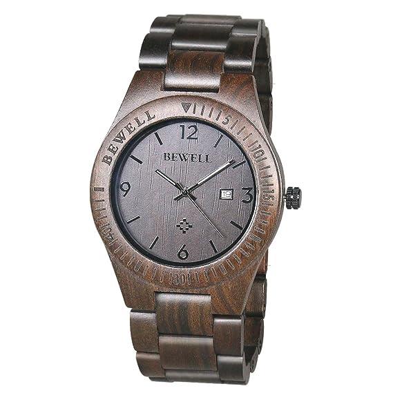 BEWELL Zebrawood Relojes de Madera, Reloj para Hombre Movimiento de Cuarzo Analógico con Visualización de la Fecha Estilo Retro: Amazon.es: Relojes