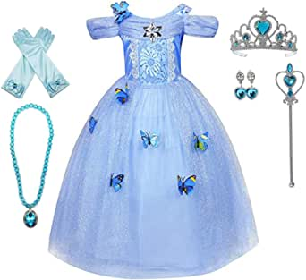 LOEL Girls' New Princess Dress Butterfly Party Costumes