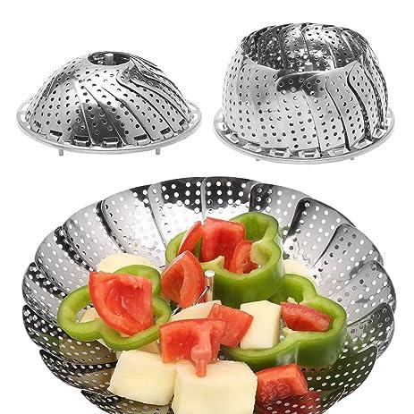 Vegetable Steamer, Adier Life Premium Stainless Steel Foldable Vegetable  Food Steamer Basket Fits Instant