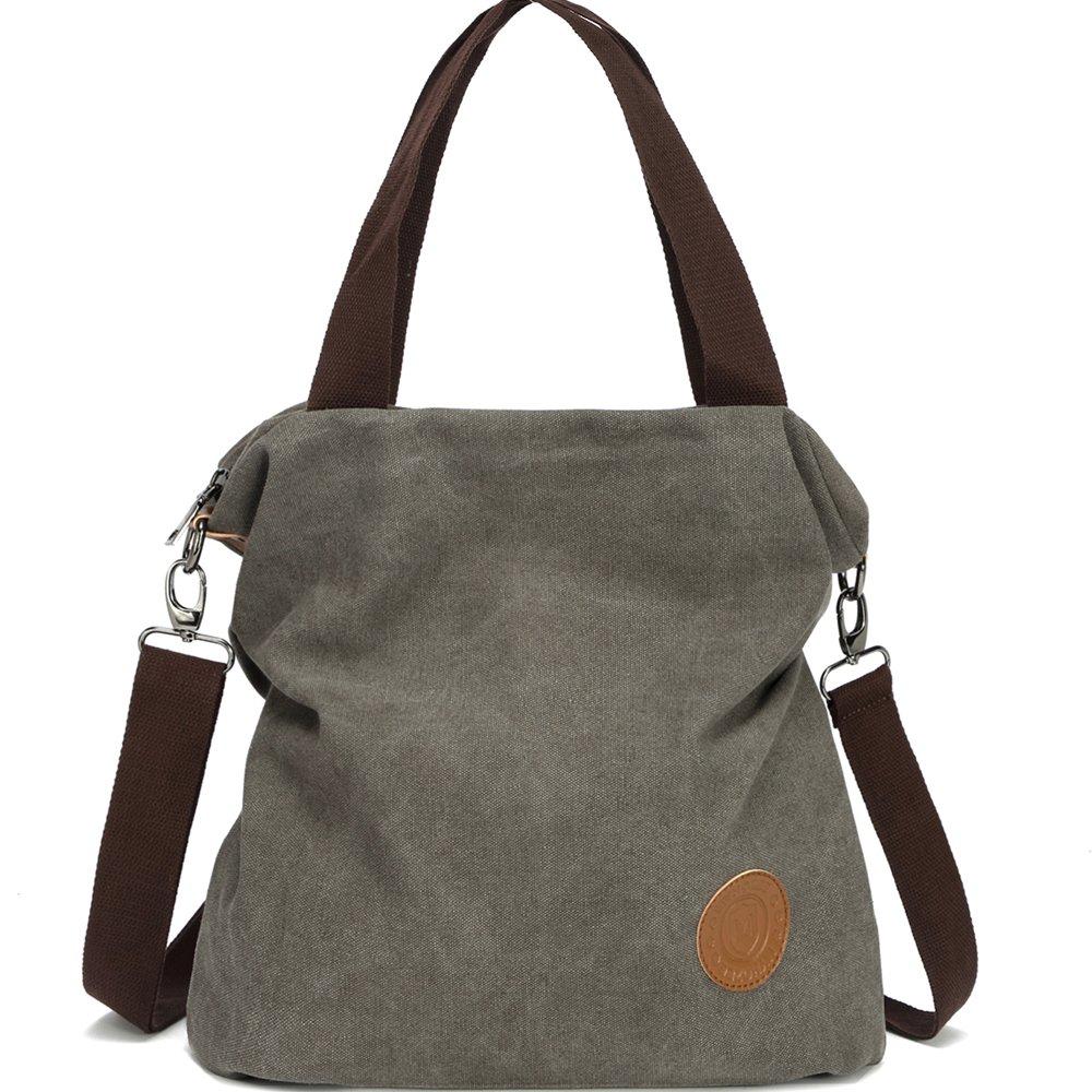 Myhozee Canvas Handbag shoulder Bag Women-Vintage Hobo Top Handle Shopping  Crossbody Bag Tote Casual Beach multifunction Bags for Ladies Women(Gray) e3bcf309fd5e4