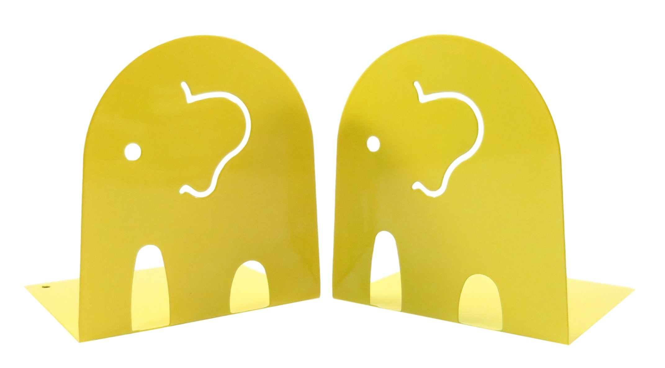 Kids Fun Elephant Non-Skid Metal Bookends 4 1/2'' x 4 3/4'' Yellow (1 Set)