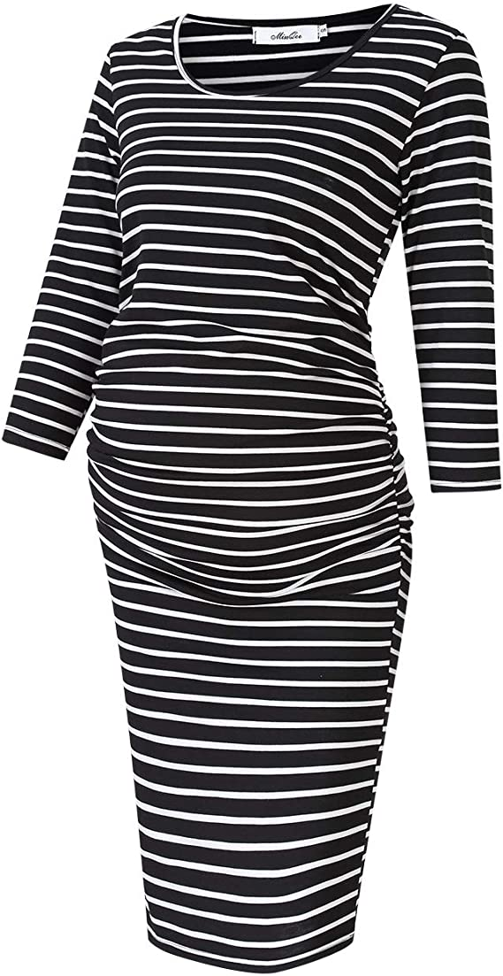 Womens Casual Maternity Dress Ruched Nursing