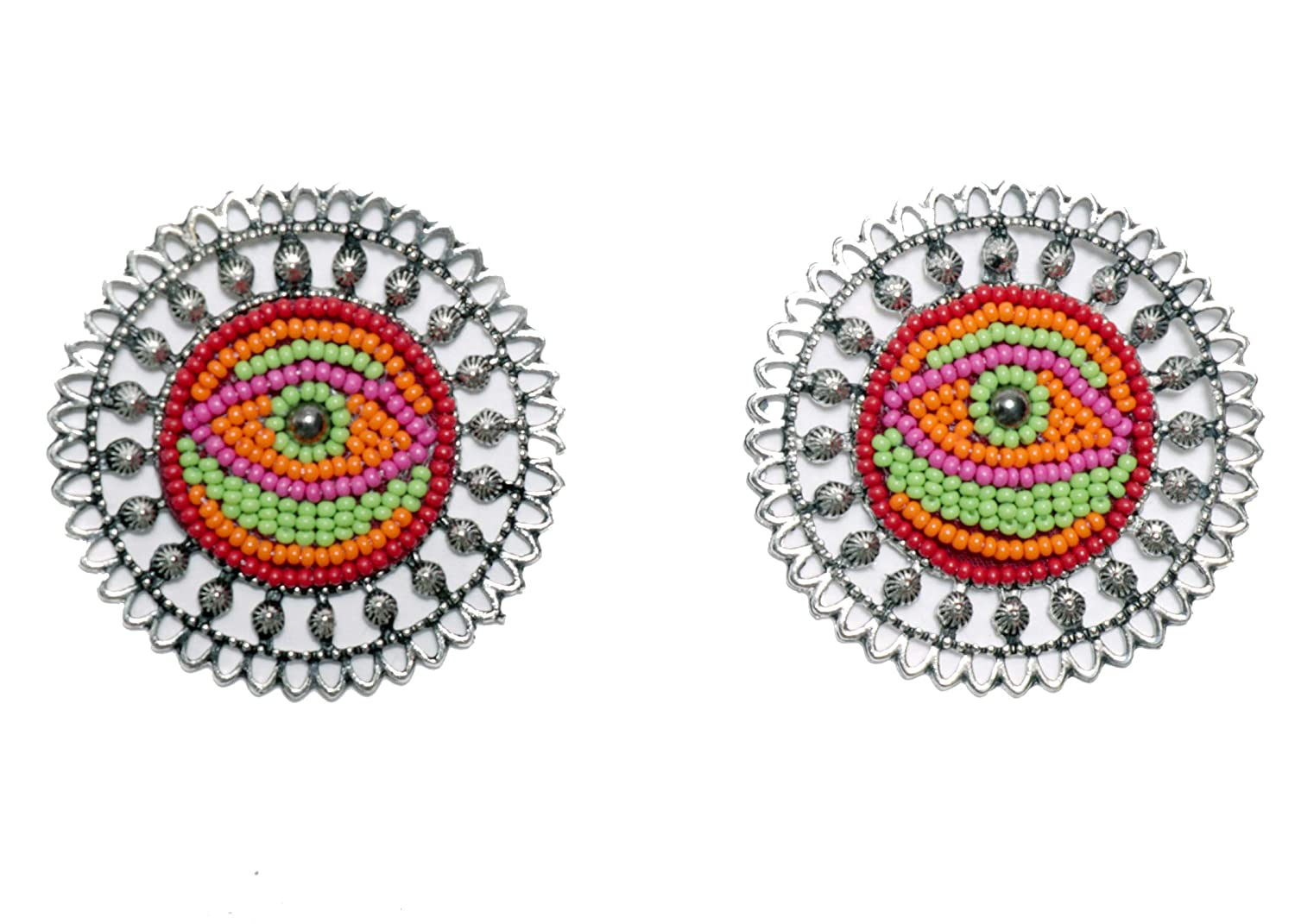 eye pattern Round Earrings with embedded beads Indian Traditional Jewellery for Stylish Women and Girls by SP Jewels
