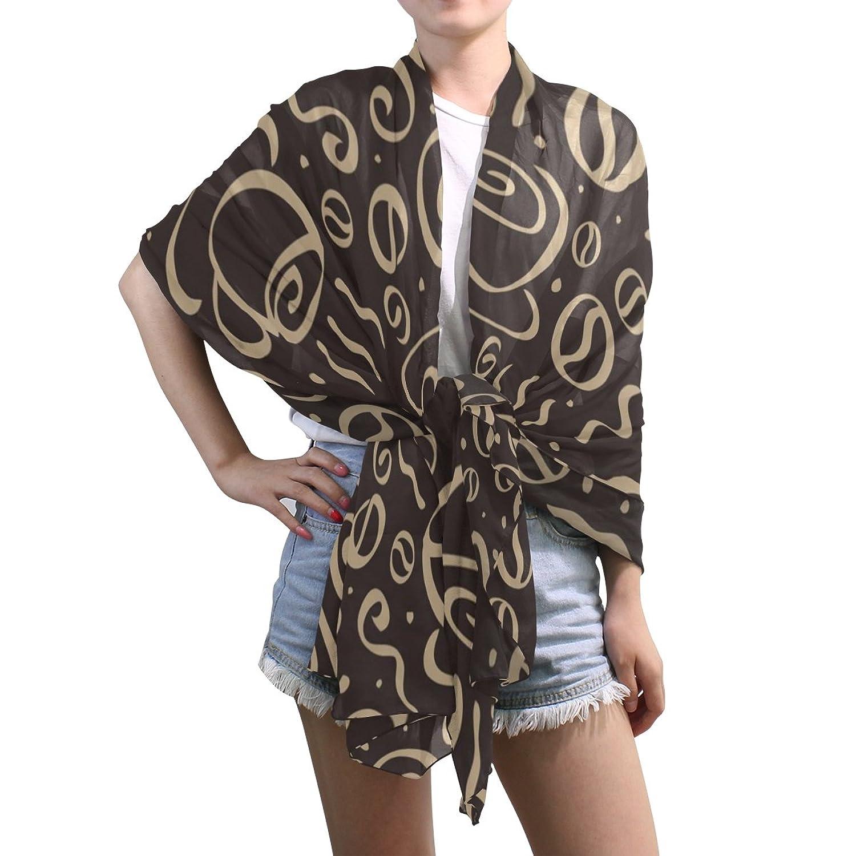 Shawl Wrap Sheer Scarves,Hand Drawn Vintage Coffee Time,Oblong Chiffon Scarf