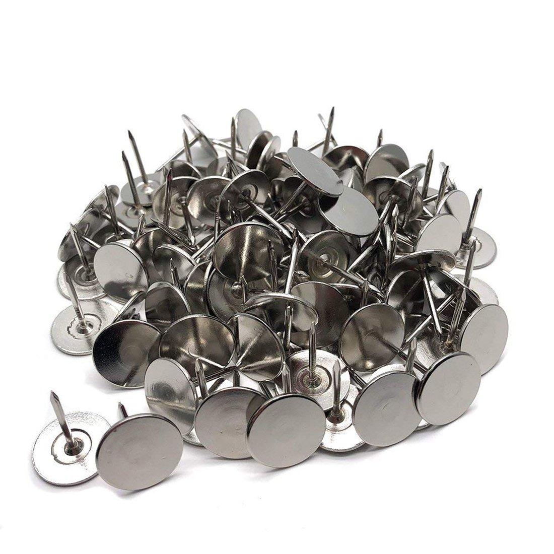 Sydien Flat Head Upholstery Tack Home Furniture Decor Tack Upholstery Nail Pushpin Thumb Tack Silver Tone 100pcs (19mm x 23mm)