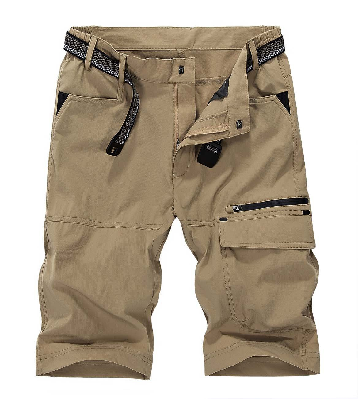 LASIUMIAT Men's Travel Cargo Short Lightweight Hiking Shorts Sports Casual Shorts Khaki