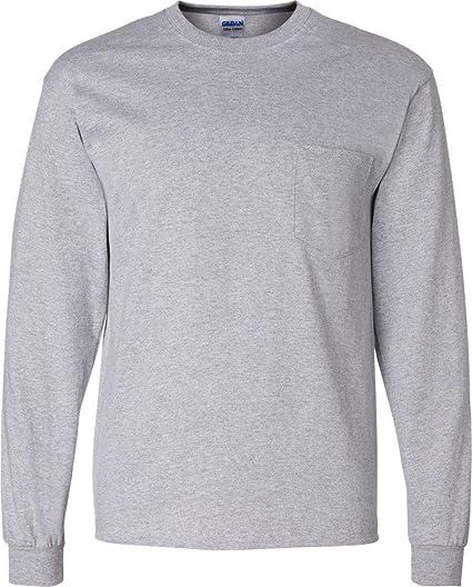 08b1ace6a99 Gildan Ultra Cotton 100% Cotton Long Sleeve T Shirt with Pocket 2410