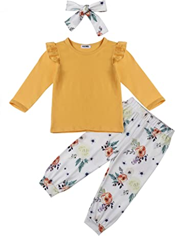 Kantenia Baby Girl Clothes Long Sleeve Floral Hoodie Sweatshirt Pants Set with Pocket Headband Outfit Sets 0-3T