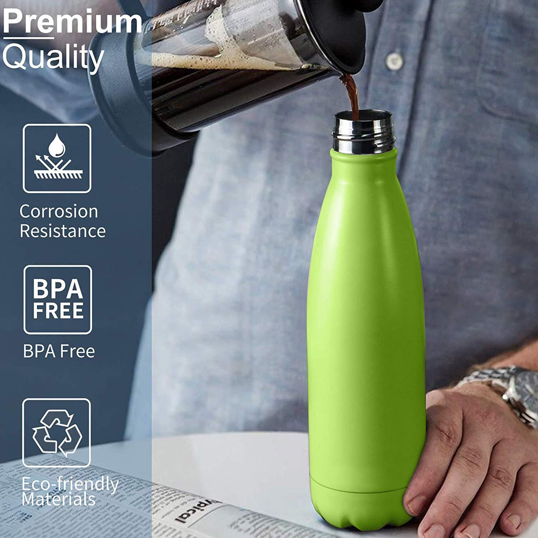 Botella Termica 500ML Botella de Agua Reutilizable Doble Pared al Vac/ío sin BPA Botella Deportiva a Prueba de Fugas para Bicicleta Naranja Zorara Botella de Agua de Acero Inoxidable