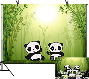 Cartoon Bamboo Forest Panda Backdrop 9x6ft Rainbow Meadow Boy Girl Baby Shower Birthday Photography Background YouTube Photo Favors Studio Prop Customize LLST363