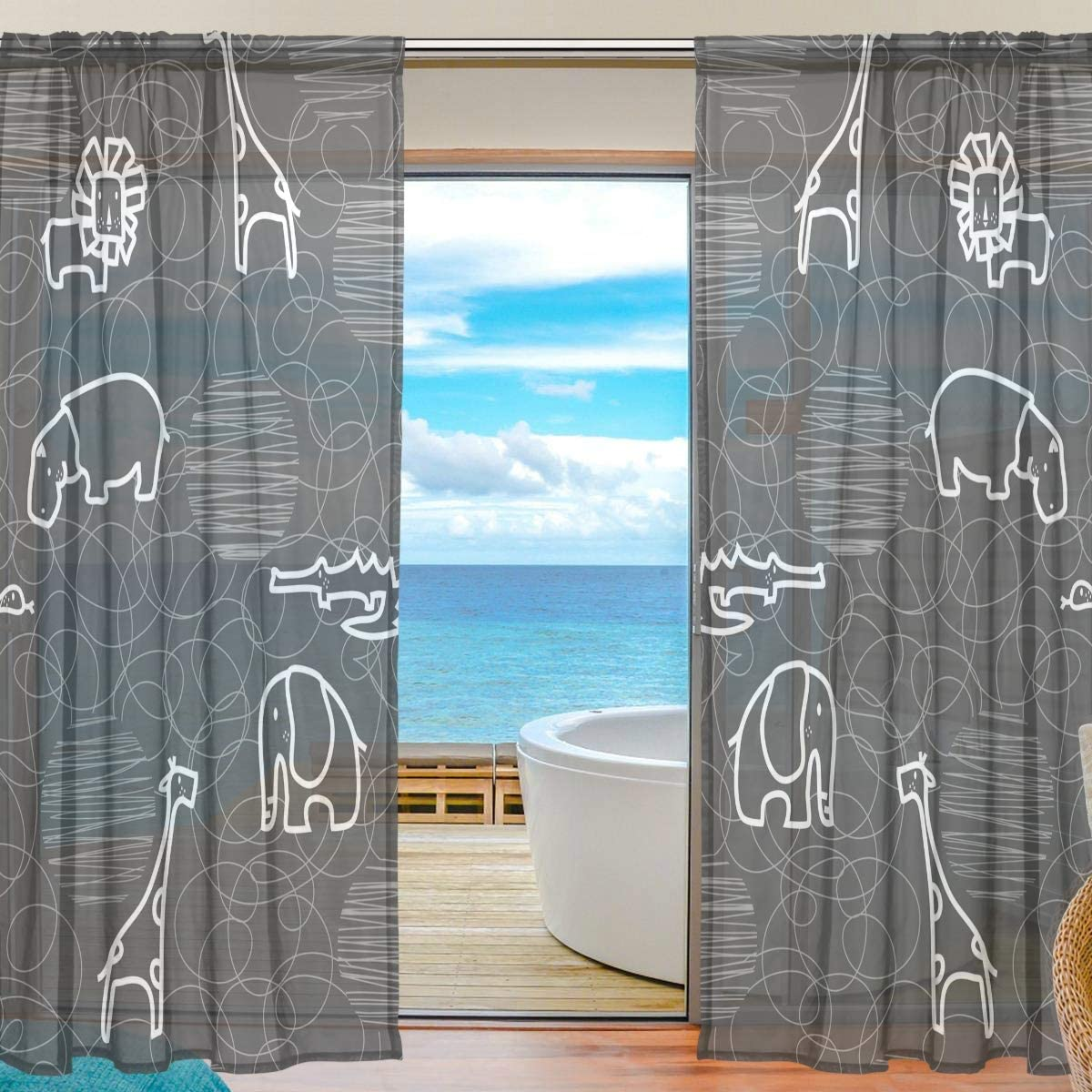Amazon Com Mr Brilliant Elephant Giraffe Sheer Curtains For Bedroom Cute Animal Pattern Tulle Drapes Window Curtains For Kids Room Living Room 55x78 Inches 2060189 Kitchen Dining