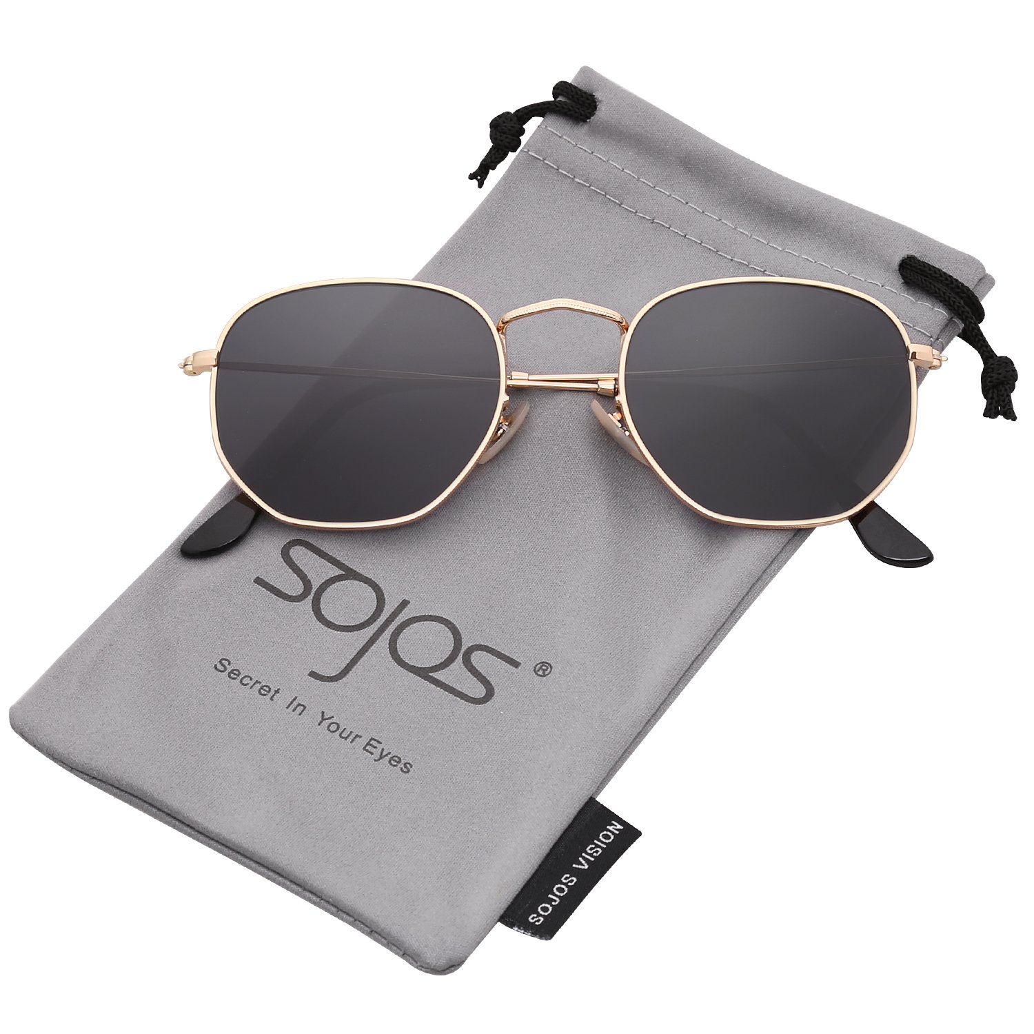SOJOS Small Square Polarized Sunglasses for Men and Women Polygon Mirrored Lens SJ1072 SJ1077 With Gold Frame/Grey Lens