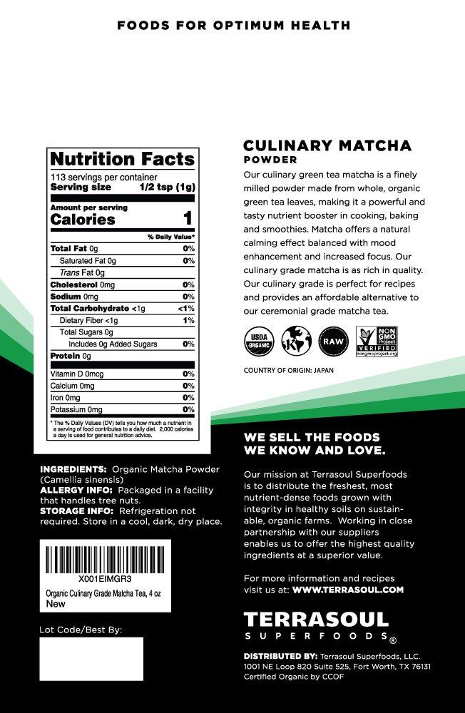 Terrasoul Superfoods Organic Matcha Green Tea (Culinary Grade), 4 ounces by Terrasoul Superfoods (Image #2)