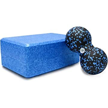 GR Treasure-box Yoga Block - Combine Yoga Brick & Massage Ball - Foam Block to Support & Deepen Poses, Improve Strength, Flexibility & Balance - Great for Yoga, Pilates, Workout, Fitness & Gym