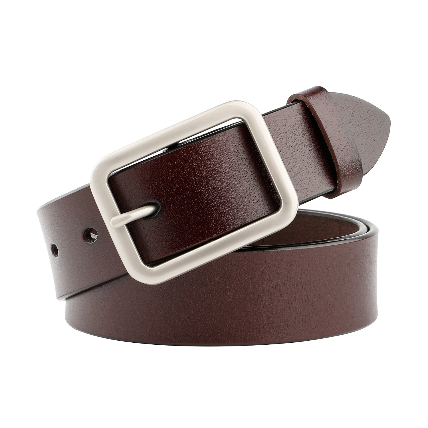JASGOOD Jeans Belt for Women Genuine Leather Belt with Pin Buckle JA032-Coffee-105