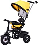 R for Rabbit Tiny Toes Sportz Smart Plug and Play Stylish Baby Tricycle Trike Cycle with Canopy for Kids of 1.5 to 5 Years with Basket,Parentals Control & Rubber Wheels & Paddle Lock.(Yellow)