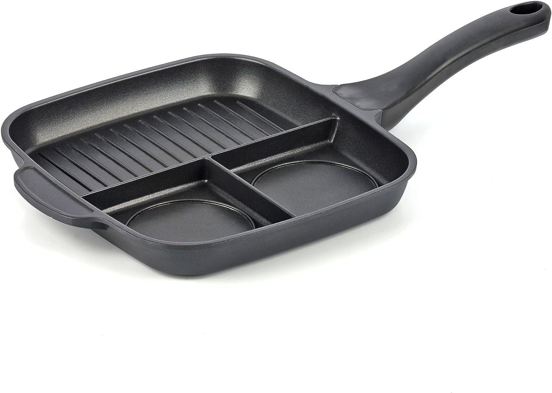 melianda MA-18330-Sartén Grill Antiadherente (3 en 1, Fundido), fundición de Aluminio, Negro, 26,5x46,5x6,5