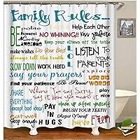 AMDXD Bathroom Curtain for Women Letter 'Famliy Rules' Bath Curtains Colorful Shower Curtain90x180CM