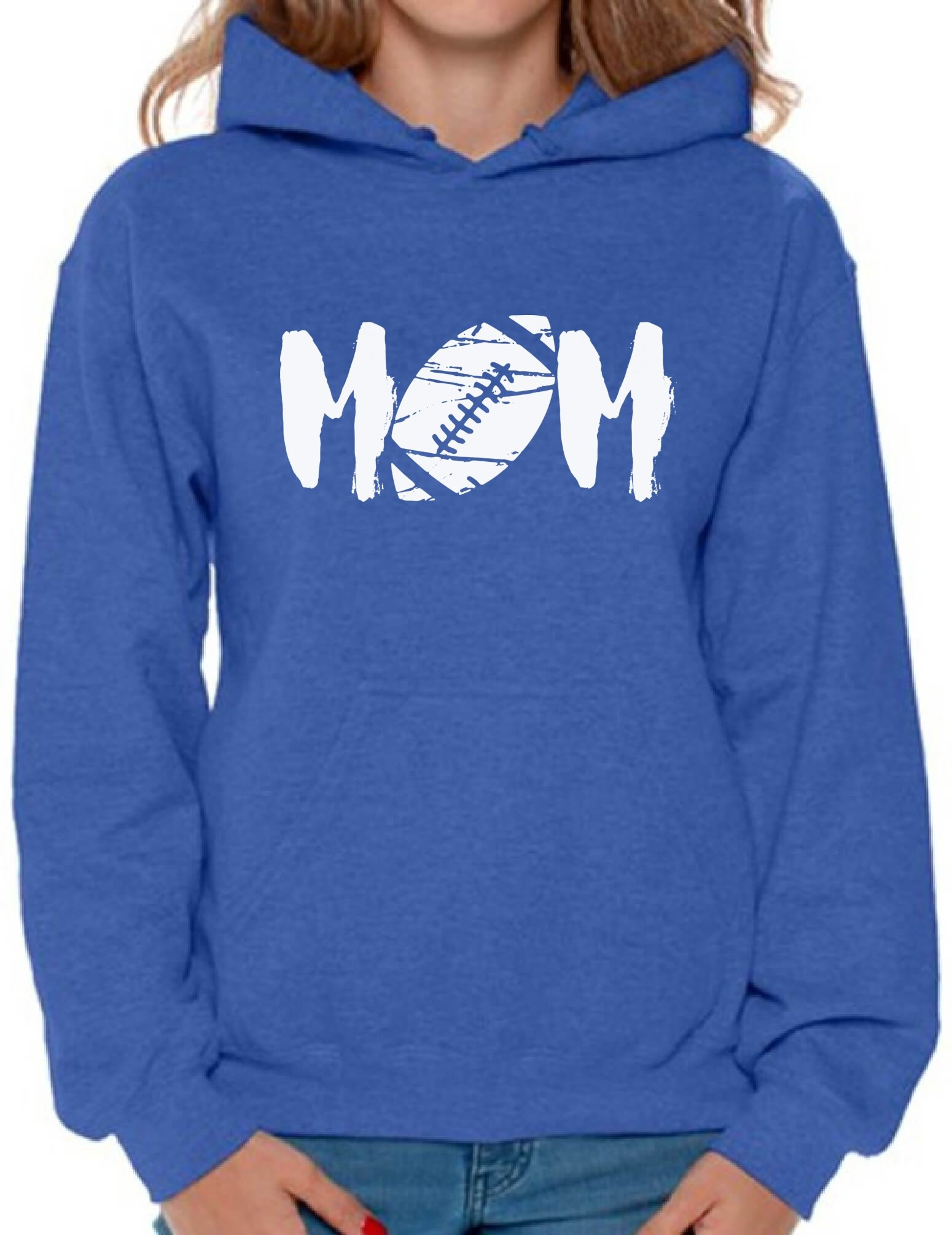 Awkward Styles Women's M-O-M Football Mom Graphic Hoodie Tops White Mother's Day Gift Sports Mom Blue XL